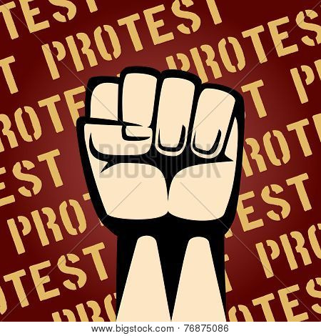 Fist Up Protest Poster
