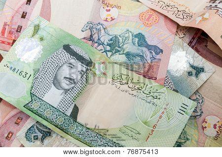 Modern Bahrain Dinars Banknotes, Closeup Background