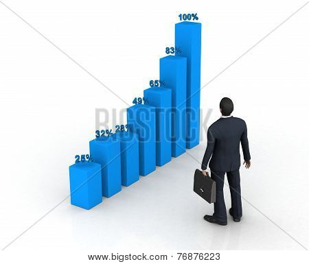 Blue Histogram And Business Man