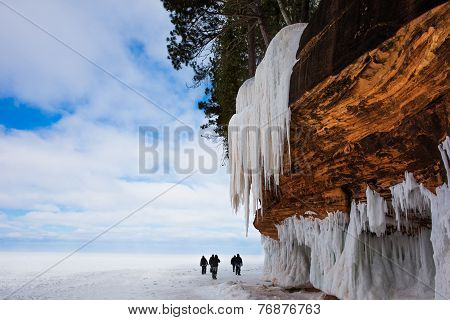 Large Cliff With Icicles And Copy Space