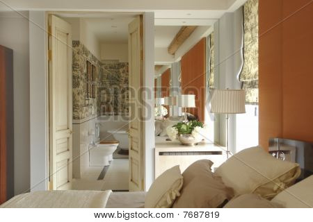 A part of bedroom and bathroom