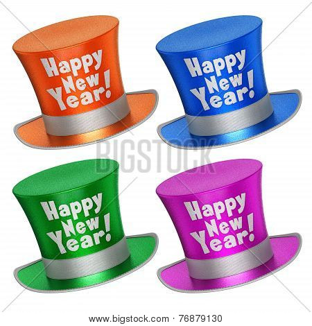 3D Rendered Collection Of Colorful Happy New Year Top Hats