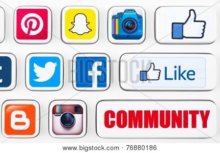 Most Popular Logotypes Of Social Networking Applications