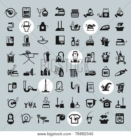 Cleaning Tools icons. vector black cleaning icons set
