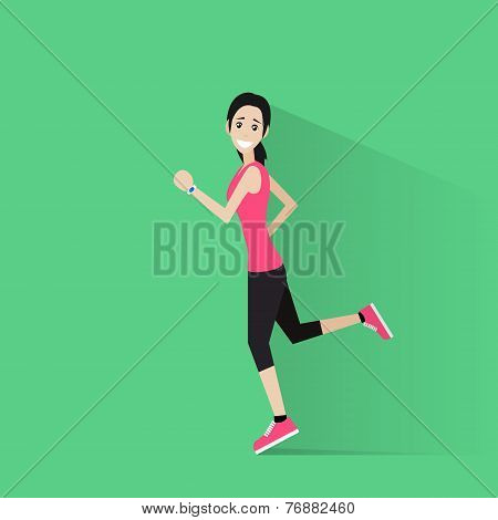 sport woman run with fitness tracker on wrist girl runner jogging