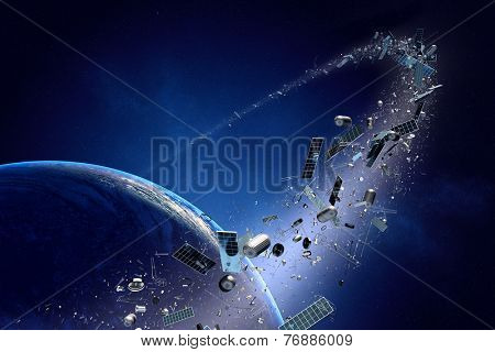 Space junk orbiting around earth - Conceptual of pollution around our planet (Texture map for 3d furnished by NASA)
