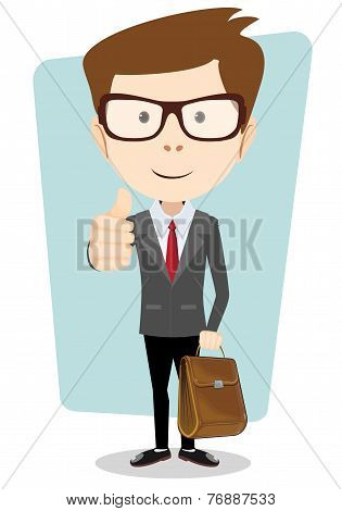 Smiling cartoon business man in a jacket giving the thumbs up with briefcase.