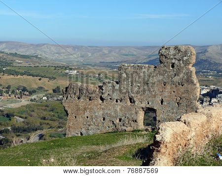 Old Wall Of The Ruins Of Volubilis Near Fes