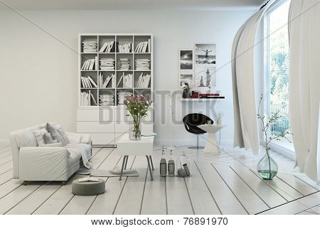 3D Rendering of Compact modern white living room interior with white painted wooden floor and walls, a single sofa, bookcase and table in shades of white overlooking a large floor to ceiling window