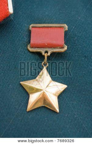 Hero of the Soviet Union gold star award poster
