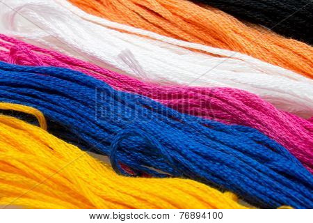 Close-up Of Several Strands Of Soft Colored Cotton