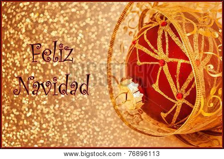 A Feliz Navidad (Merry Christmas in Spanish) card with text red ornament and gold ribbon poster