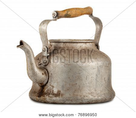 Old Aluminum Kettle With Wooden Handle