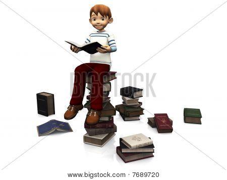 cute Cartoon Junge sitzt auf einem Stapel von Büchern.
