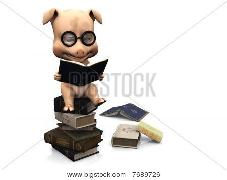 A cute cartoon pig wearing glasses sitting on a pile of books and reading. A couple of books are scattered on the floor. White background. poster