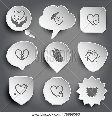 love in hands, protection love, careful heart, unrequited love, atomic heart, heart and arrow, closed heart. White vector buttons on gray.