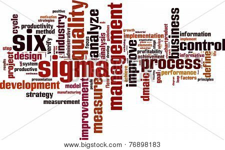 Six Sigma Word Cloud Concept. Isolated on White. poster