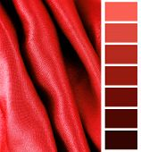 close up of the red silk fabric texture complimentary color palette chart poster