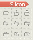 Vector folder icon set on grey background poster