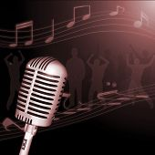 Image of a retro microphone with musical notes and crowd in the background. poster