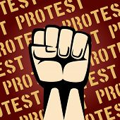 Single Cartooned Raised Fist on Maroon Background with Protest Texts Graphic Design. poster