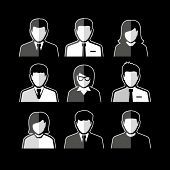 People icons. Business people. Avatar flat design icons. White business people avatars on black background. poster