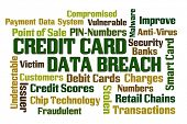 Credit Card Data Breach word cloud on white background poster