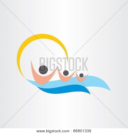 Children Swimming In Sea Summer Beach Sun Icon