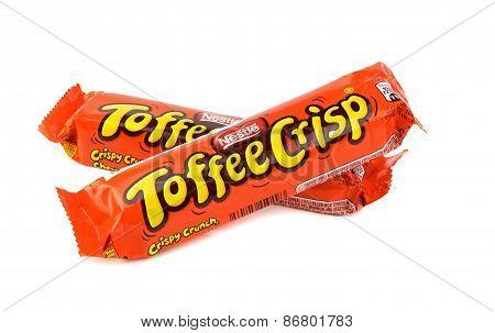 Two Nestle Toffee Crisp chocolate bars