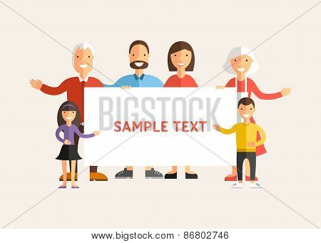 Happy Family Holding A Banner. Flat Design Vector Illustration