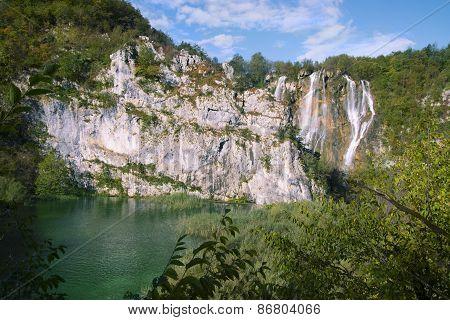 large waterfall Plitvice lakes