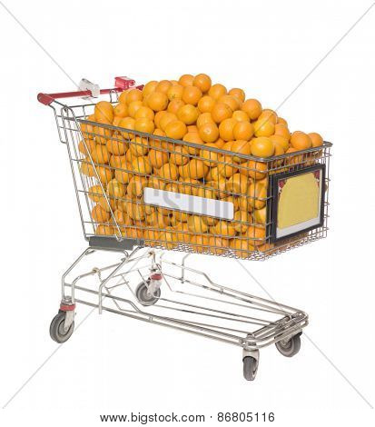 Shopping Cart with a large group of Oranges isolated on white background
