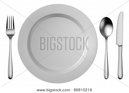 Silver Cutlery Set With White Plate Isolated On White Background