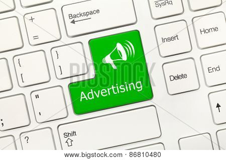 White Conceptual Keyboard - Advertising (green Key)