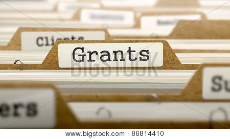 Grants  - Word on Folder Register of Card Index. Selective Focus. Catalog Concept. poster