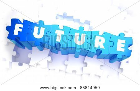 Future - White Word on Blue Puzzles. White Background with Selective Focus. 3D Illustration. poster