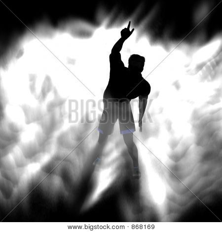a silhouette of a man standing in fog or smoke just like in a concert poster