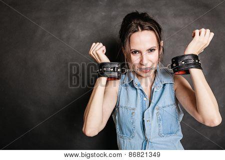 Arrest And Jail. Criminal Woman Prisoner Girl In Handcuffs