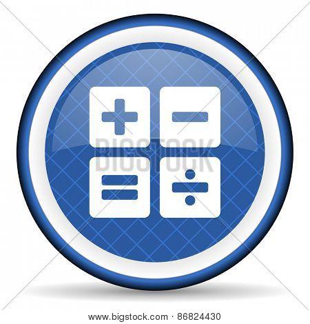 calculator blue icon calc sign