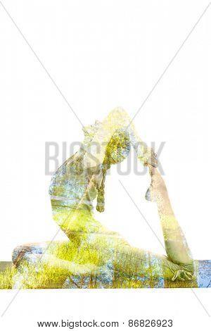 Nature harmony healthy lifestyle concept - double exposure image of  woman doing yoga asana King Pigeon Pose (Raja Kapotasana) exercise isolated on white background