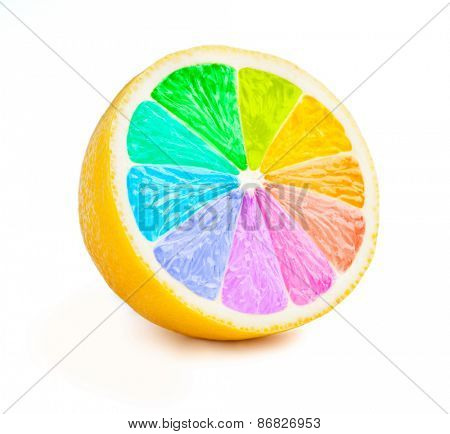 Multi color vitamins diversity concept - lemon cut half slice with color wheel rainbow colors isolated on white background