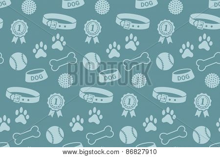 Seamless pattern with dog's stuff. Collar, bowl, balls, bones, paw prints and the reward