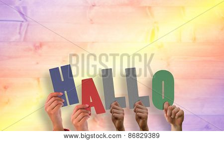 Hands holding up hallo against yellow and purple planks
