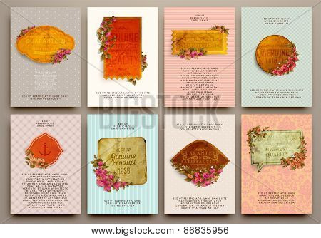 Set of Vintage Labels, Logo, Frames, Flowers and Brochures. Vector Design Templates Collection for Banners, Flyers, Placards and Posters. Retro Backgrounds.