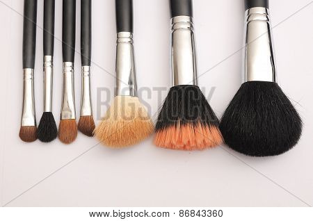 Set of Makeup brushes, Isolated object on white background