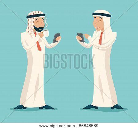 Arab Businessman Drink Coffee Tea Chat Mobile Phone Symbol Icon on Stylish Background Retro Cartoon