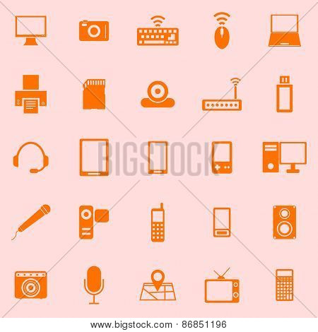 Gadget Color Icons On Orange Background