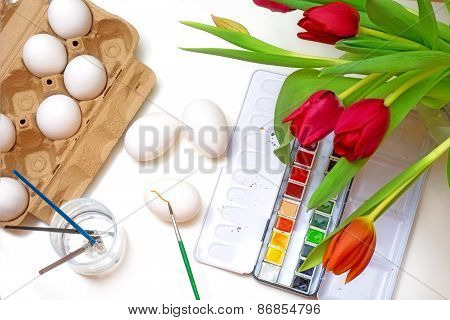 Creative Concept, Easter Egg Coloring, View Fom Above