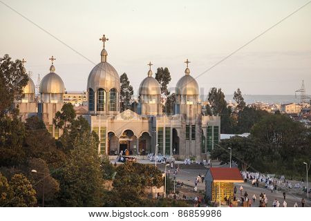 ADDIS ABABA, ETHIOPIA-OCTOBER 31, 2014: Unidentified worshippers conduct a church service at a large Ethiopian Orthodox church in Addis Ababa, Ethiopia