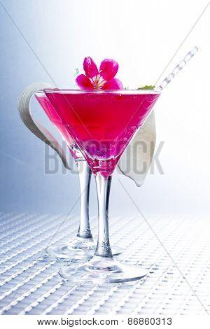 Molecular mixology - Cocktail with caviar and flower petals poster